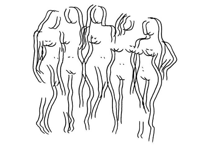 Charlotte Caragliu, artiste plasticienne, crée des dessins en noir et blanc d'après des films pornographiques remettant en question la notion de genre (3 femmes).